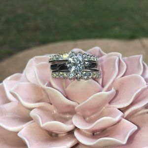 Lovely 3 Piece Bridal Ring Set - Size 8